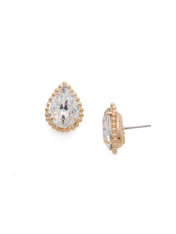Pear Cut Solitaire Earring in Bright Gold-tone Crystal