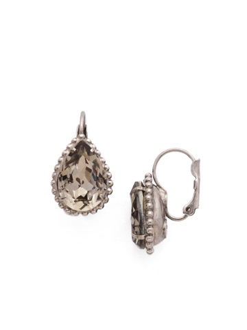 Pear Cut Drop Earring in Antique Silver-tone Crystal Rock