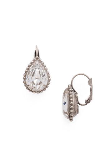 Pear Cut Drop Earring in Antique Silver-tone Crystal
