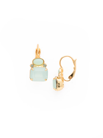 Emerald-Cut Crystal and Semi-Precious Oval French Wire Earring in Bright Gold-tone Pacific Opal
