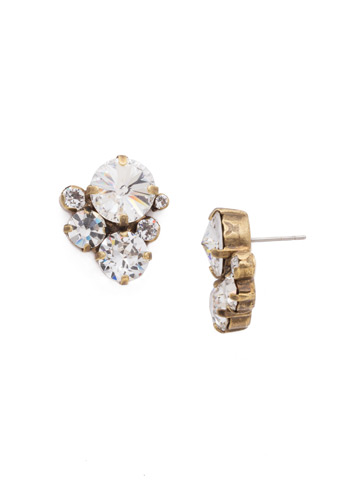 Crystal Assorted Rounds Post Earring in Antique Gold-tone Crystal