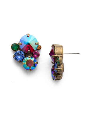 Crystal Assorted Rounds Post Earring in Antique Gold-tone Game of Jewel Tones