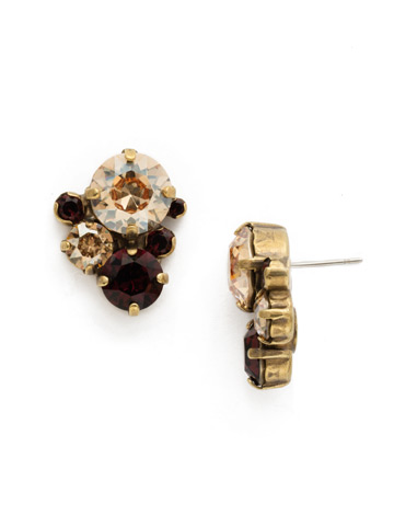 Crystal Assorted Rounds Post Earring in Antique Gold-tone Mighty Maroon