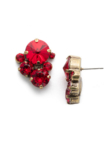Crystal Assorted Rounds Post Earring in Antique Gold-tone Sansa Red