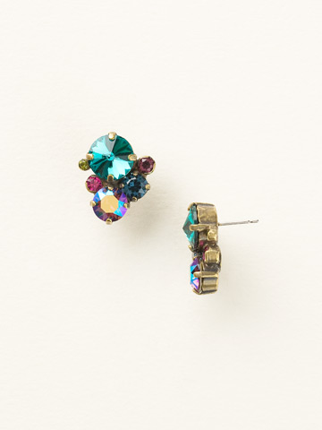 Crystal Assorted Rounds Post Earring in Antique Gold-tone Super Multi