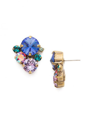 Crystal Assorted Rounds Post Earring in Antique Gold-tone Wildflower