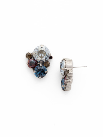 Crystal Assorted Rounds Post Earring in Antique Silver-tone Blue Brocade