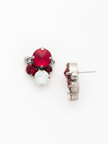Crystal Assorted Rounds Post Earring in Antique Silver-tone Crimson Pride