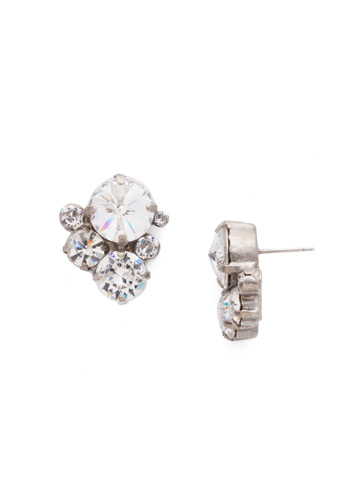 Crystal Assorted Rounds Post Earring in Antique Silver-tone Crystal