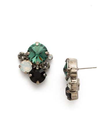 Crystal Assorted Rounds Post Earring in Antique Silver-tone Game Day Green