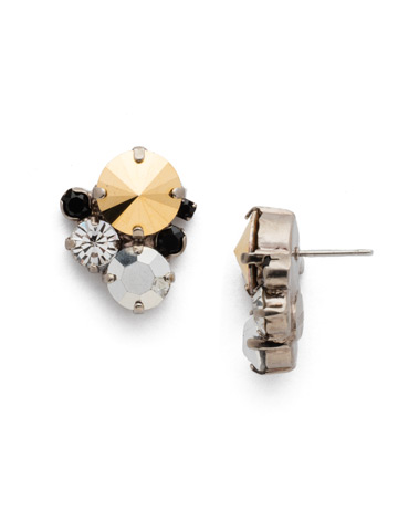 Crystal Assorted Rounds Post Earring in Antique Silver-tone Heavy Metal