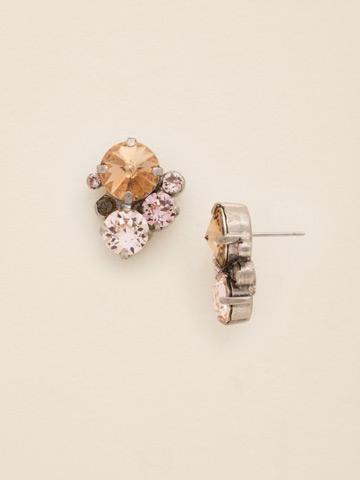 Crystal Assorted Rounds Post Earring in Antique Silver-tone Sand Dune