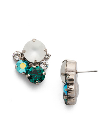 Crystal Assorted Rounds Post Earring in Antique Silver-tone Snowy Moss