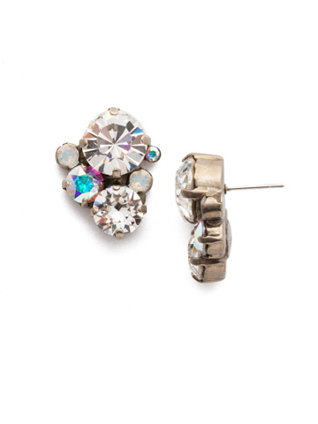 Crystal Assorted Rounds Post Earring in Antique Silver-tone White Bridal
