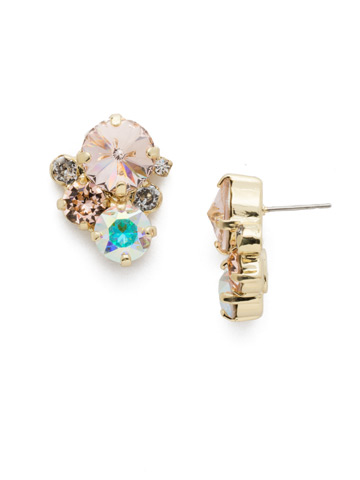 Crystal Assorted Rounds Post Earring in Bright Gold-tone Silky Clouds