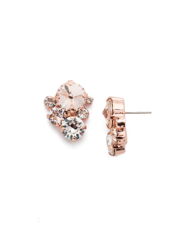 Crystal Assorted Rounds Post Earring in Rose Gold-tone Snow Bunny