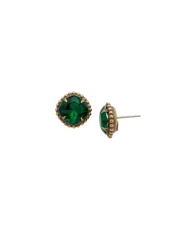 Petite Cushion Cut Solitaire in Antique Gold-tone Emerald
