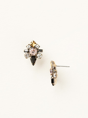 Round Crystal Starburst Post Earring in Antique Gold-tone Black Fringe
