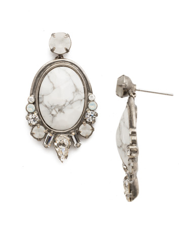 All In Earring in Antique Silver-tone White Howlite