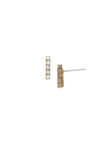 Rhinestone Bar Post Earring in Antique Gold-tone Crystal