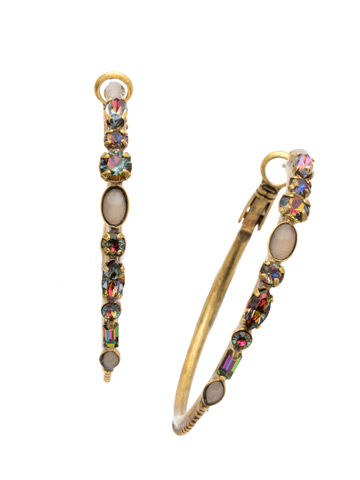 Mixed Media Hoop Earrings in Antique Gold-tone Volcano