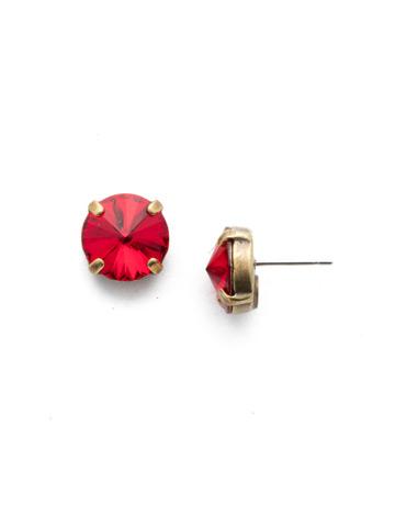 Radiant Rivoli Earring in Antique Gold-tone Sansa Red