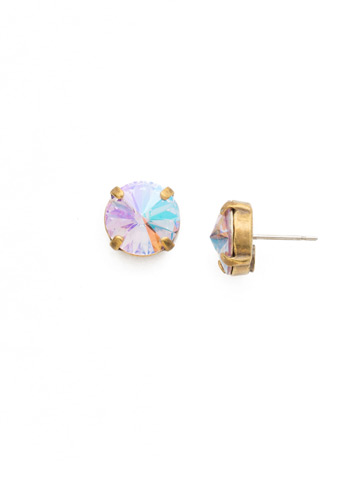 Radiant Rivoli Earring in Antique Gold-tone Washed Waterfront