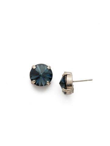 Radiant Rivoli Earring in Antique Silver-tone Glory Blue