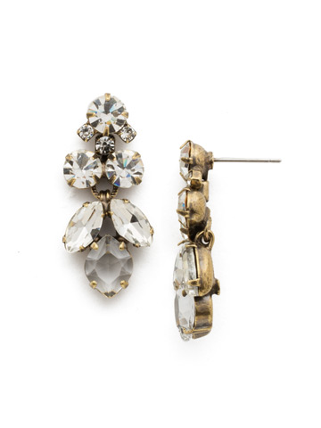 Petite Crystal Lotus Flower Earring in Antique Gold-tone Crystal