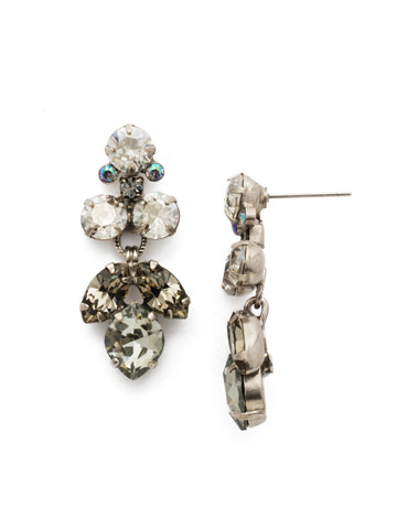 Petite Crystal Lotus Flower Earring in Antique Silver-tone Crystal Rock