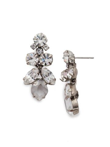 Petite Crystal Lotus Flower Earring in Antique Silver-tone Crystal