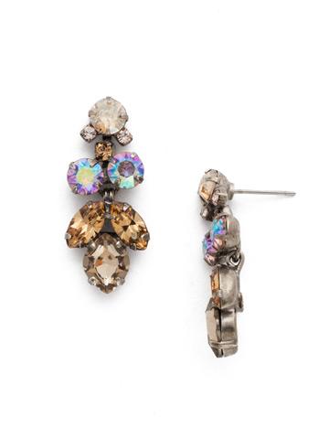 Petite Crystal Lotus Flower Earring in Antique Silver-tone Mirage