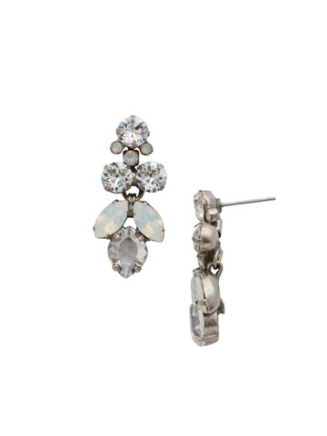 Petite Crystal Lotus Flower Earring in Antique Silver-tone White Bridal