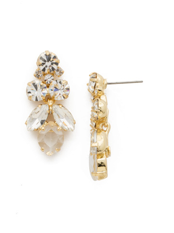 Petite Crystal Lotus Flower Earring in Bright Gold-tone Crystal