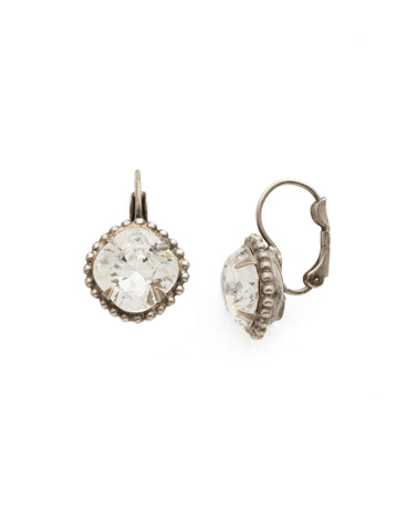 Decorative Cushion Cut French Wire Earring in Antique Silver-tone Crystal