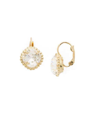 Decorative Cushion Cut French Wire Earring in Bright Gold-tone Crystal