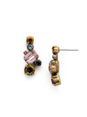 Classic Geo Drop Earring in Antique Gold-tone Royal Plum