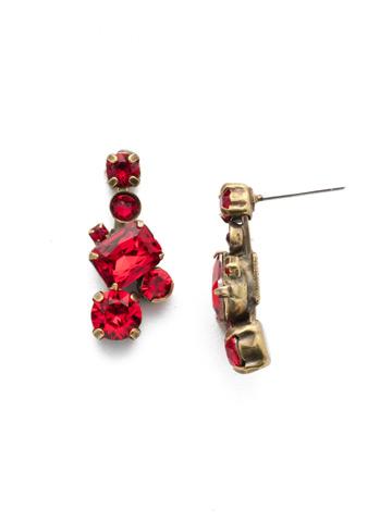 Classic Geo Drop Earring in Antique Gold-tone Sansa Red