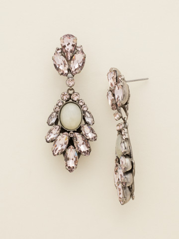 Cascading Crystal Navette Drop Earrings in Antique Silver-tone Satin Blush
