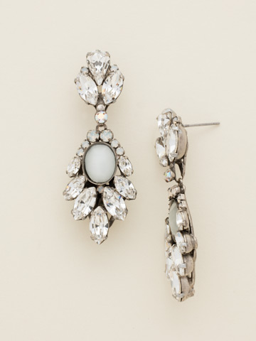 Cascading Crystal Navette Drop Earrings in Antique Silver-tone White Bridal