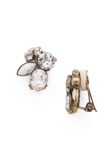 Rock Candy Clip Earring in Antique Gold-tone Crystal