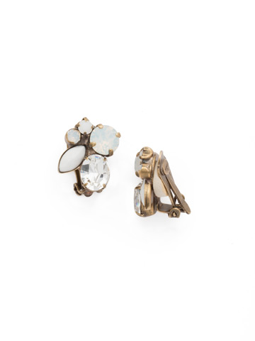 Rock Candy Clip Earring in Antique Gold-tone Pearl Luster