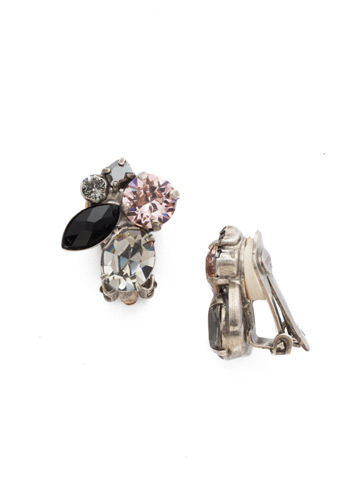 Rock Candy Clip Earring in Antique Silver-tone Crystal Noir