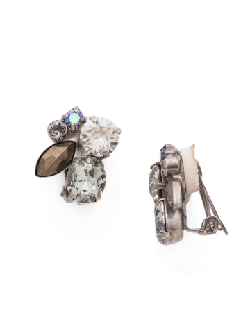 Rock Candy Clip Earring in Antique Silver-tone Crystal Rock