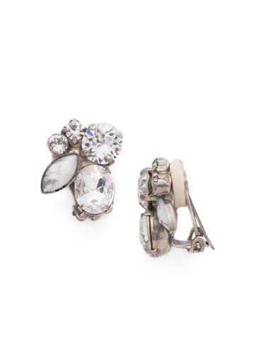Rock Candy Clip Earring in Antique Silver-tone Crystal