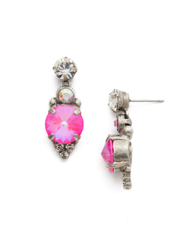 Darling Drop Earring in Antique Silver-tone Pink Mutiny