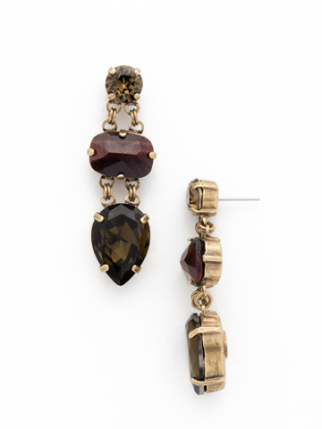 Assorted Gem Drop Earring in Antique Gold-tone Green Tapestry
