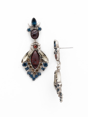 Baroque Statement Earring in Antique Silver-tone Blue Brocade