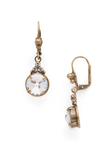 Radiant Round French Wire Earring in Antique Gold-tone Crystal