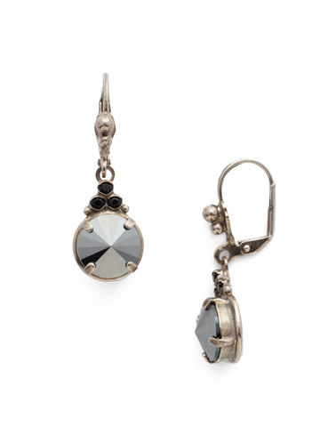 Radiant Round French Wire Earring in Antique Silver-tone Crystal Noir